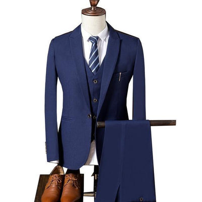 Outlet Appeal Blue / XL Suit Men Slim Fit Suits for Men 3 Piece Jacket Pants Vest Suit Mens Formal Wear