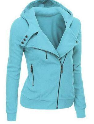 Outlet Appeal blue / XXL Women's Slim Fit Long Sleeve Cotton Zipper Jacket Hoodie