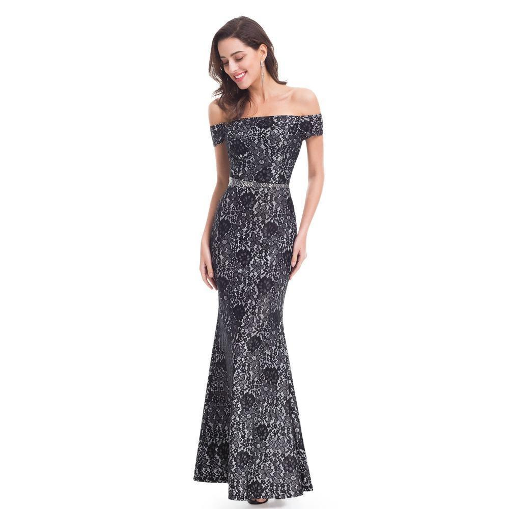 7180e3234a4b Outlet Appeal Boat Neck Evening Dresses Ever Pretty Lace Black Elegant  Formal Long