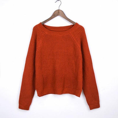 Outlet Appeal brick red / L Autumn winter women sweaters and pullovers korean style long sleeve casual crop sweater slim solid knitted jumpers sweter mujer
