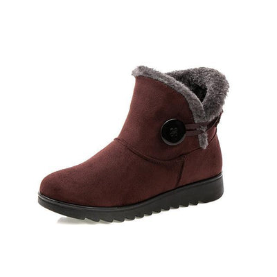 Outlet Appeal browm / 6 HEE GRAND Winter Women Boots Flock Warm Ankle Snow 2017 Slip On Button Creepers XWX1597