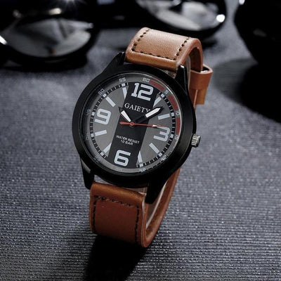 Outlet Appeal brown 2017 Luxury Brand Watch Men Military Mens Quartz PU Leather Wrist Watch Relogio Masculino #53
