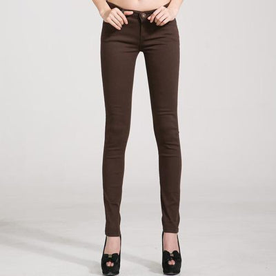 Outlet Appeal Brown / 25 Denim Pants Candy Color Womens Jeans Stretch Bottoms Skinny Pants For Women Trousers