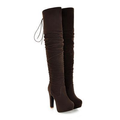 Outlet Appeal Brown / 4 ENMAYER Women Boots Over-the-Knee boots for women Flock Tassel ladies Long Boots Round Toe