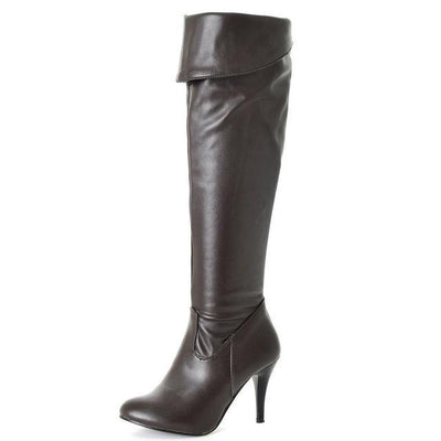 Outlet Appeal brown / 4 High Heel Knee High Boots Fashion Snow Long Boot Warm Winter Brand Footwear Heels Shoes