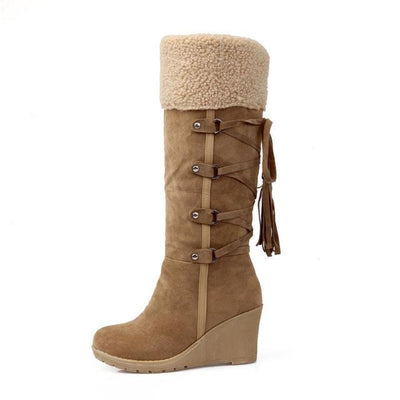 Outlet Appeal brown / 4 Plush Snow Boots Women Wedges Knee-high Slip-resistant Boots ThermalCotton-padded Winter