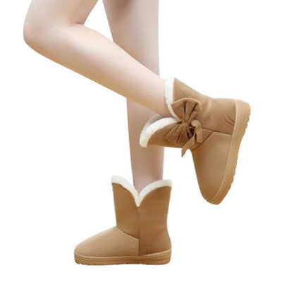 Outlet Appeal brown / 5 HEE GRAND Women Snow Boots Solid Bowtie Slip-On Soft Round Toe Flat with Winter Shoes XWX1385