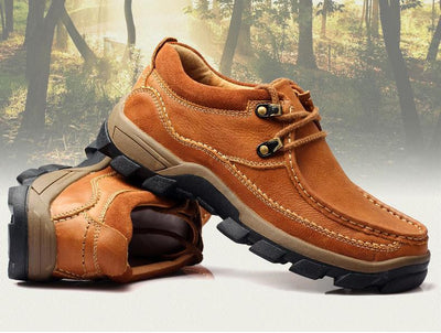 Men's Genuine Leather Lace-up Water Resistant Shoes