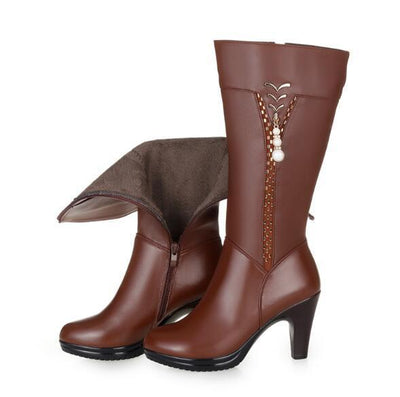 Outlet Appeal brown fluff / 4 Wool Lined Winter Genuine Leather High Heel Boots