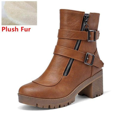 Outlet Appeal brown fur / 6 Faux Leather Winter Metal Buckle Thick High Heel Zipper Ankle Boots