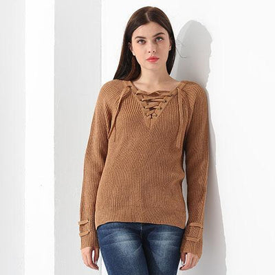 Outlet Appeal Brown / L Sweater Women Pullover Long Sleeve Knitted Tops Women's Knitwear 2018 GAREMAY