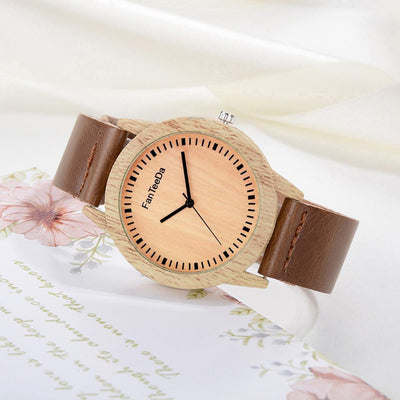 Outlet Appeal Brown Luxury Fashion Leather Band Analog Quartz Round Wrist Watch Watches