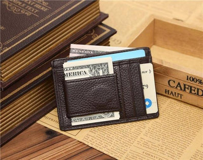 Outlet Appeal Brown Man wallet leather with coin pocket  Credit ID Card Holder Slim Purse