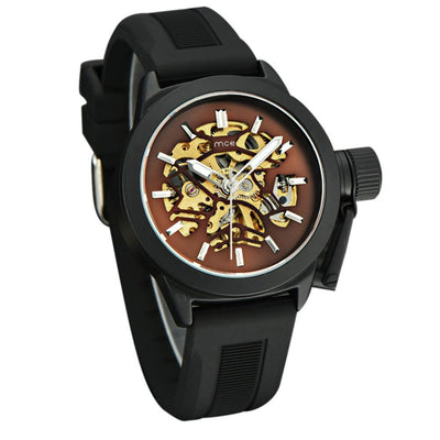 Outlet Appeal Brown Mens Watches Top Brand Luxury Hollow Skeleton Automatic Watch Men Watch Clock