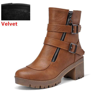 Outlet Appeal brown velvet / 6 Faux Leather Winter Metal Buckle Thick High Heel Zipper Ankle Boots