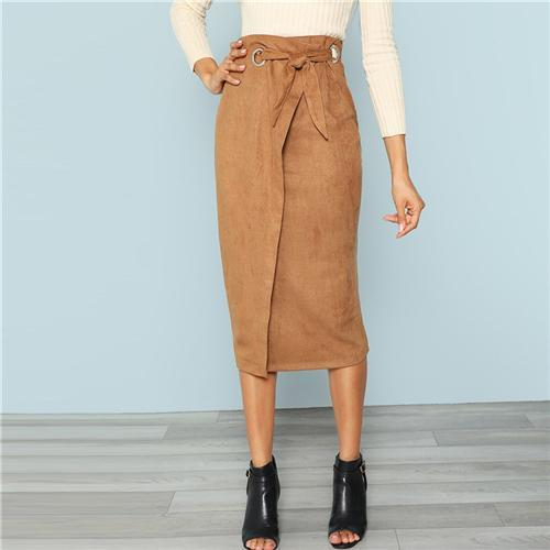 5f7940e9e8 Outlet Appeal Brown / XS Sheinside Brown Tie Waist Bodycon Work Skirt Zip  Back Mid-