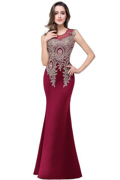 Outlet Appeal burgundy / 2 Lace Mermaid Prom Dresses Long Embroidery Evening Party Dress