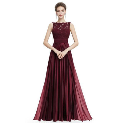 Outlet Appeal Burgundy / 4 / China Evening Dresses Gorgeous Formal Round Neck Lace Long Sexy Red Women Party