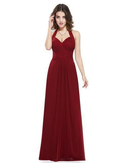 Outlet Appeal Burgundy / 4 / China Prom Dress A Line Ever Pretty Empire Halter Long Maxi Sleeveless Long Prom Dresses