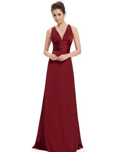 Outlet Appeal Burgundy / 4 Evening Dresses Ever-Pretty Elegant V Neck Long Formal Special Occasions