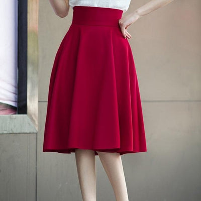 Outlet Appeal Burgundy / XS Skirt High Waisted Skirts Womens White Knee Length Bottoms Pleated Skirt XS-5XL Pink Black Red Blue