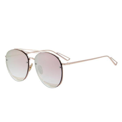 Outlet Appeal C02 Pink Mirror MERRY'S Women Classic Designer Rimless Sunglasses Twin Beam Metal Frame Sun Glasses S'8096