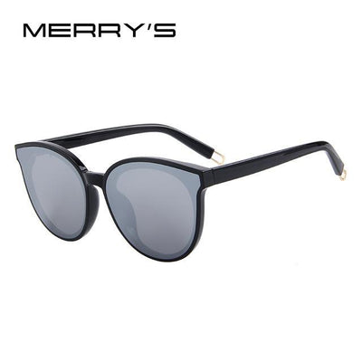 Outlet Appeal C04 Black Silver MERRY'S Women Classic Brand Designer Cat Eye Sunglasses S'8094