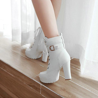 Outlet Appeal Chunky High Heel Platform Lace Up Ankle Boots