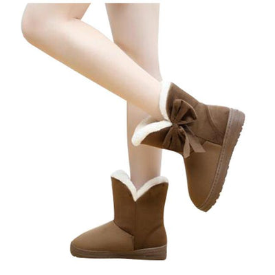 Outlet Appeal coffee / 5 HEE GRAND Women Snow Boots Solid Bowtie Slip-On Soft Round Toe Flat with Winter Shoes XWX1385
