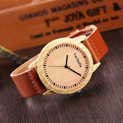 Outlet Appeal Coffee Luxury Fashion Leather Band Analog Quartz Round Wrist Watch Watches