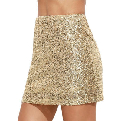 Outlet Appeal COLROVIE Women Short Skirt Korean Women Clothing Sexy Clubwear Solid Gold Embroidered Sequin  A Line Mini Skirt