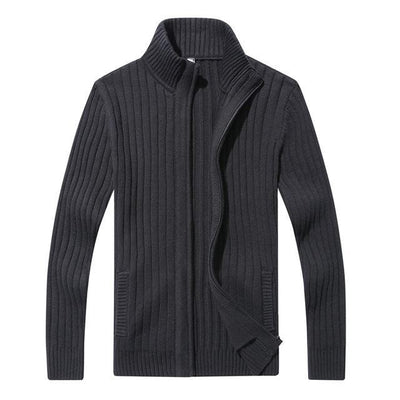 Outlet Appeal Cotton Black / M / China Men's Slim Fit Zipper Cardigan Sweater