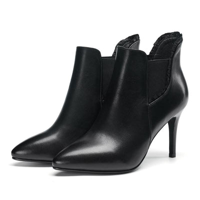 Outlet Appeal Cow Leather Pointed Toe Thin Heel High Heel Zipper Ankle Boots