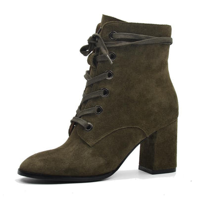 Outlet Appeal Cow Suede Leather High Heel Lace-up Ankle Boots