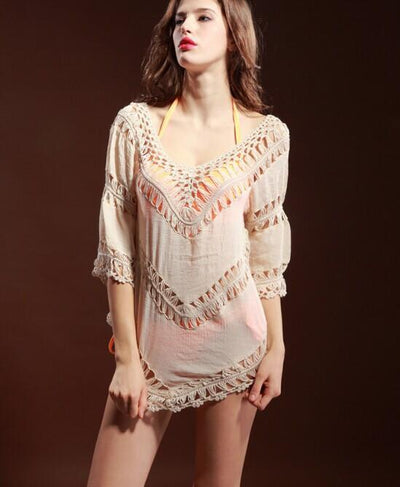 Outlet Appeal Crochet Breathable Loose Cardigan Sweater with Medium Length Sleeves