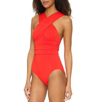 Outlet Appeal Cross Halter One Piece Swimsuit - 7 Patterns