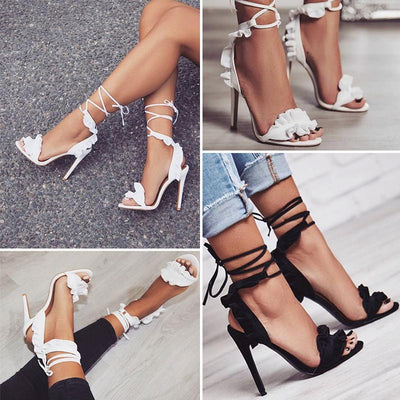 Outlet Appeal Cross Tied Ruffled Lace-Up Thin High Heel Sandals