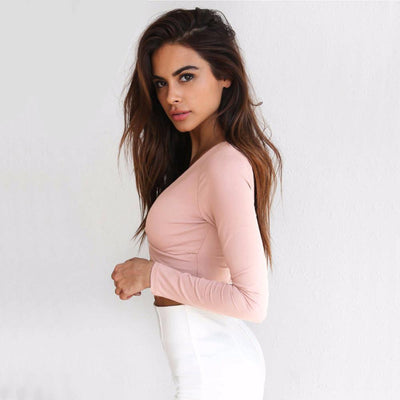 Outlet Appeal Cross V-neck Slim Long Sleeve Crop Top T-shirt - 5 Colors - Small-L