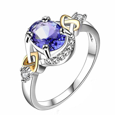 Outlet Appeal Dark Blue / 6 Alloy Engagement Ring with Crystal