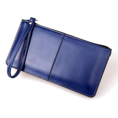 Outlet Appeal Dark Blue Retro Long Card Holder Leather Stitching Lady Women Wallet