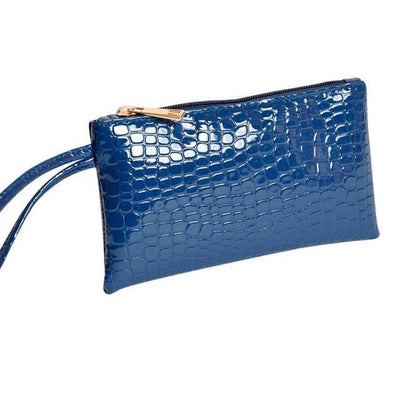 Outlet Appeal Dark Blue Women's Faux Crocodile Leather Clutch Coin Purse Wallet