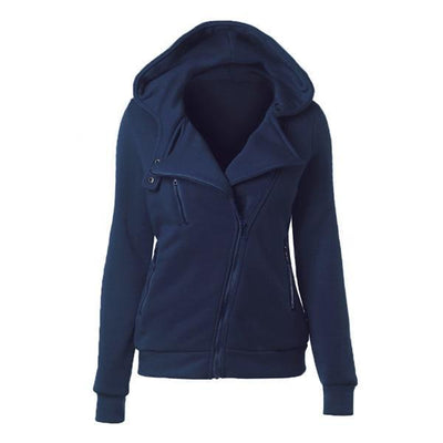 Outlet Appeal dark blue / XXL Women's Slim Fit Long Sleeve Cotton Zipper Jacket Hoodie