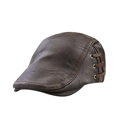 Outlet Appeal Dark Coffee Men's Flat Cap Vintage PU Leather Newsboy Cap Flat Golf Driving Hunting Hat