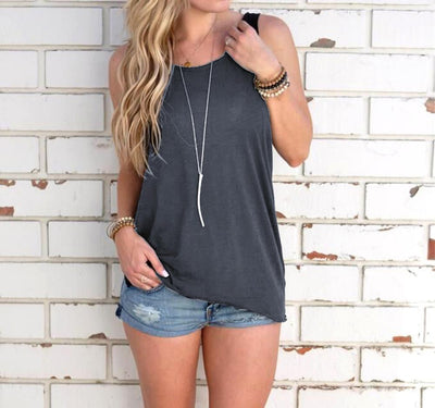Outlet Appeal Dark Gray / L Sleeveless Backless Shirt Knotted Tank Top