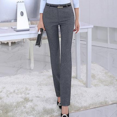 Outlet Appeal Dark gray pants / S Belt Loop Formal Pants for Women Office Lady Style Straight Trousers Business Design S-5XL