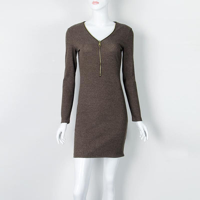 Outlet Appeal Dark Gray / S Zipper V-neck Knitted Dress Long Sleeve Slim Sheath Dress - 4 Colors