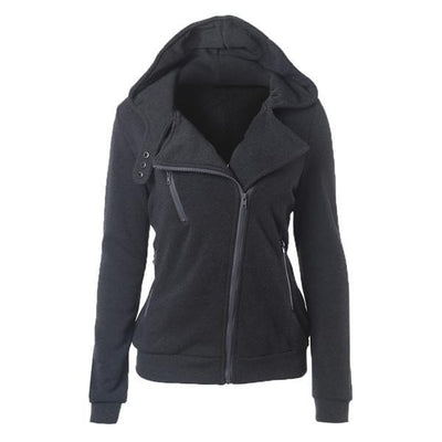 Outlet Appeal dark gray / XXL Women's Slim Fit Long Sleeve Cotton Zipper Jacket Hoodie