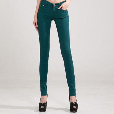 Outlet Appeal Dark green / 25 Denim Pants Candy Color Womens Jeans Stretch Bottoms Skinny Pants For Women Trousers