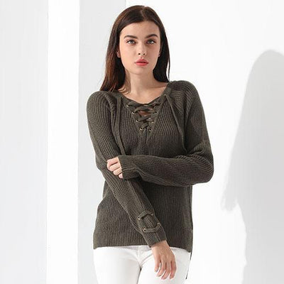 Outlet Appeal Dark green / M Sweater Women Pullover Long Sleeve Knitted Tops Women's Knitwear 2018 GAREMAY