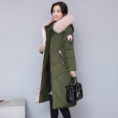 Outlet Appeal DARK GRENN / M Fur Collar Long Winter Coat
